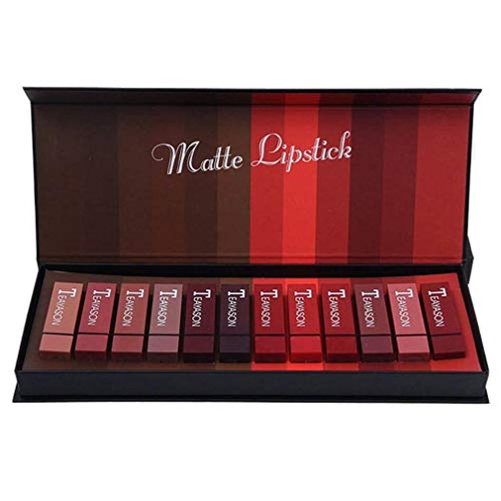食物欺物理的に新しいボックスハードボックス12色スクエアチューブセクシーな赤い口赤い霧フェイスリップスティックカボチャマットブリックレッドダーティーオレンジ