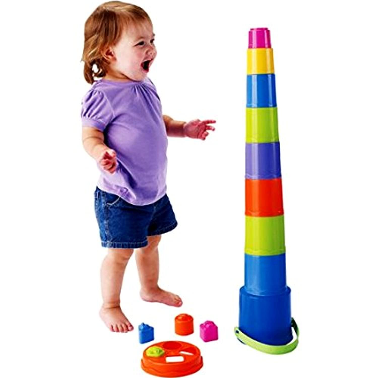 Stack and Pourバケット、Large Nesting and Stackingバケットfor Kids and Toddlersおもちゃ、スタックNネストと構築バケット& e-book