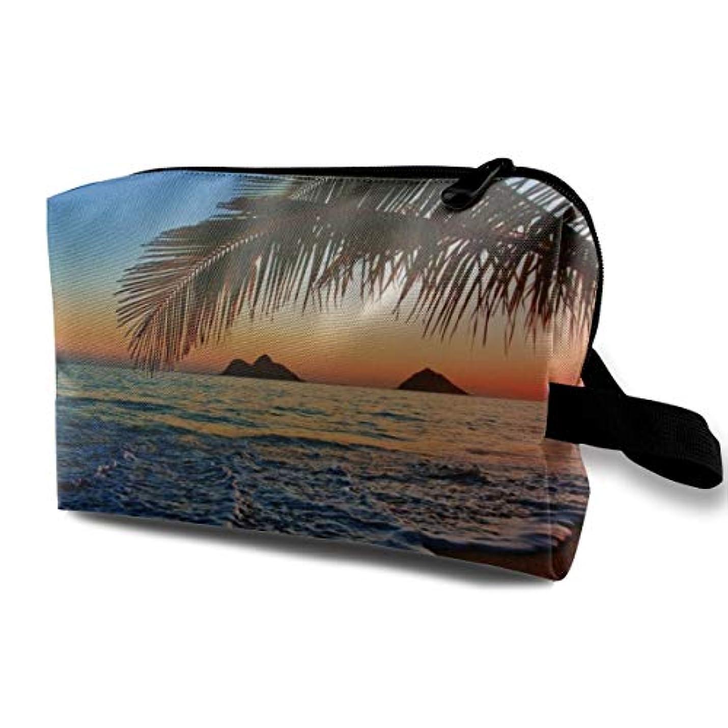無秩序ラウズアンプPacific Sunrise Beach 収納ポーチ 化粧ポーチ 大容量 軽量 耐久性 ハンドル付持ち運び便利。入れ 自宅?出張?旅行?アウトドア撮影などに対応。メンズ レディース トラベルグッズ