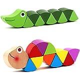 木のおもちゃ、カラフルな毛虫、mg117パズルのおもちゃ、おもちゃ、色のついた枝. 04