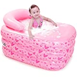 子供用浴槽インフレータブルパドリングプール、115×80×50センチメートルは、屋内と屋外の厚いホットタブに座ることができます (Color : Manual pump)