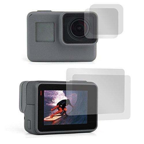 【Taisioner】GoPro HERO5/6用 9H液晶保護フィルム 保護シート スクリーンとレンズ用 汚れとホコリと傷を防ぐ 2セット入り (透明)
