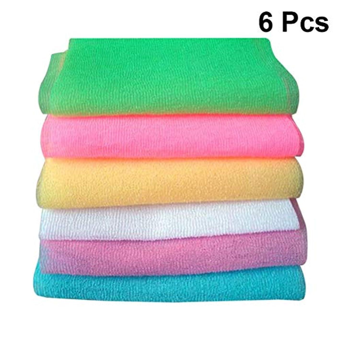Healifty 6本のバスタオルこすりタオルこすりバックスクラブロングストリップシャワータオル(混合パターン)