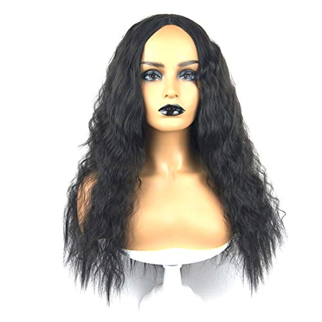 怖がって死ぬ男鉱石Kerwinner 女性のための自然に見える長い波状右なしレース耐熱交換用かつら完全合成かつら
