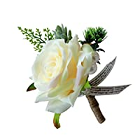 Kesoto コサージュ ロマンチック 結婚式/パーティー シルク 花 バラ 3タイプ選べ - シャンパン