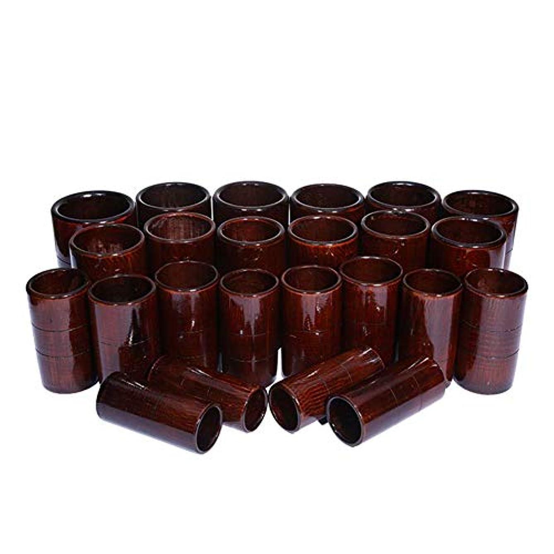 レプリカ遡る成長する竹鍼治療セット - 炭缶ボディ医療吸引セット - カッピングマッサージバキュームカップ,D24pcs
