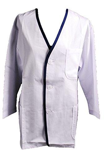 [해외]046 신품 조리 옷 백의 감색 경계선상의 칠부 소매 깃없는/046 Brand New Cooking Coat White Coat Blue Border Bottom Cover Three-quarter Sleeve Collar None