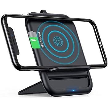 Qi 急速ワイヤレス充電器【Qi認証/PSE認証済み】Andobil 10Wスマホワイヤレス充電器 折り畳み式 平置き横置き両用 滑り止め 置くだけ充電 iPhone XS/XS Max/XR/X / 8 / 8 Plus、Galaxy S9 / S9+ / S8 / S8+、その他Qi対応機種 (ブラック)