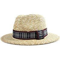 CHENDX High Quality Hat, 2019 New Jazz Hat Sun Hat Beach Cap Red Black Plaid Fabric Summer Elegant Gentleman Hat Unisex Retro Panama Male Straw Hat (Color : 1, Size : 56-58CM)