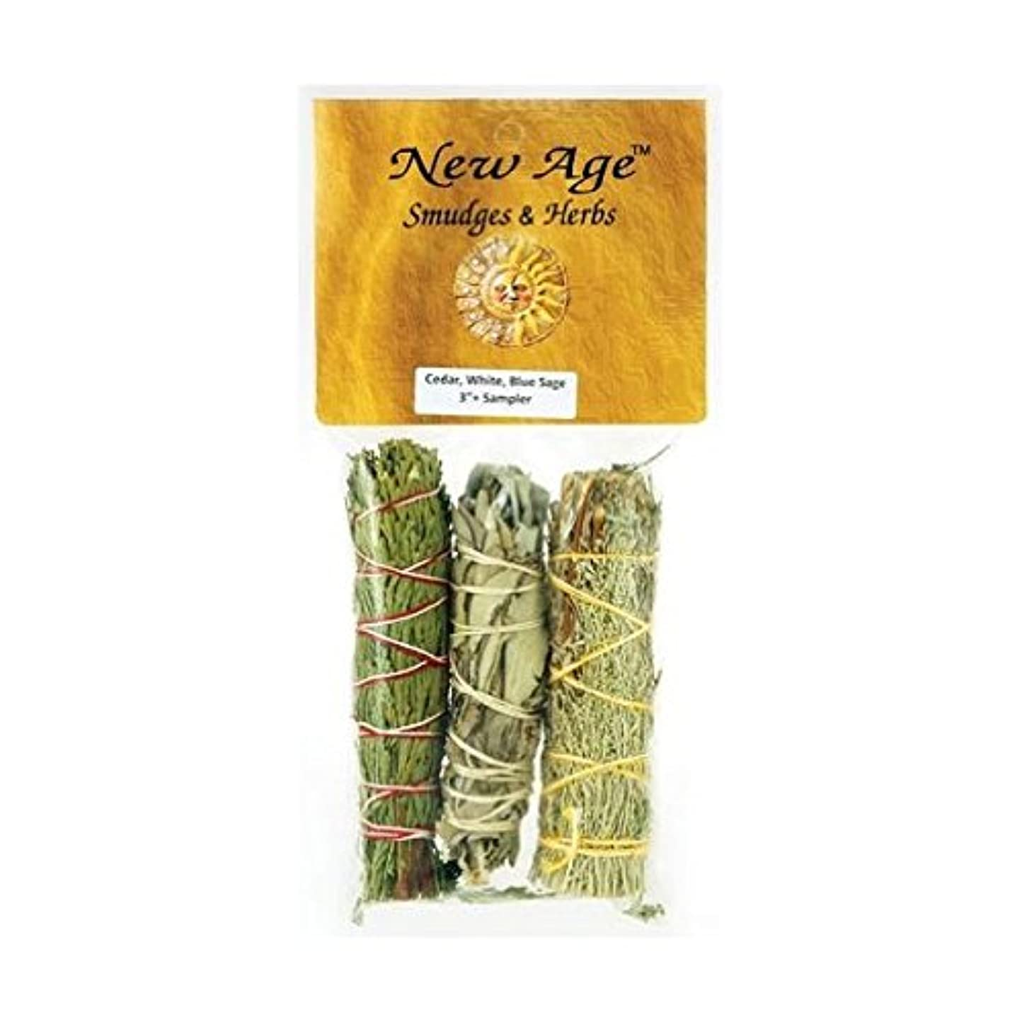 牛肉グラディス合併症AzureGreen RS3BWC 4 in. Sage Smudge Stick in Cedar, White & Blue - 3 Packs by AzureGreen [並行輸入品]