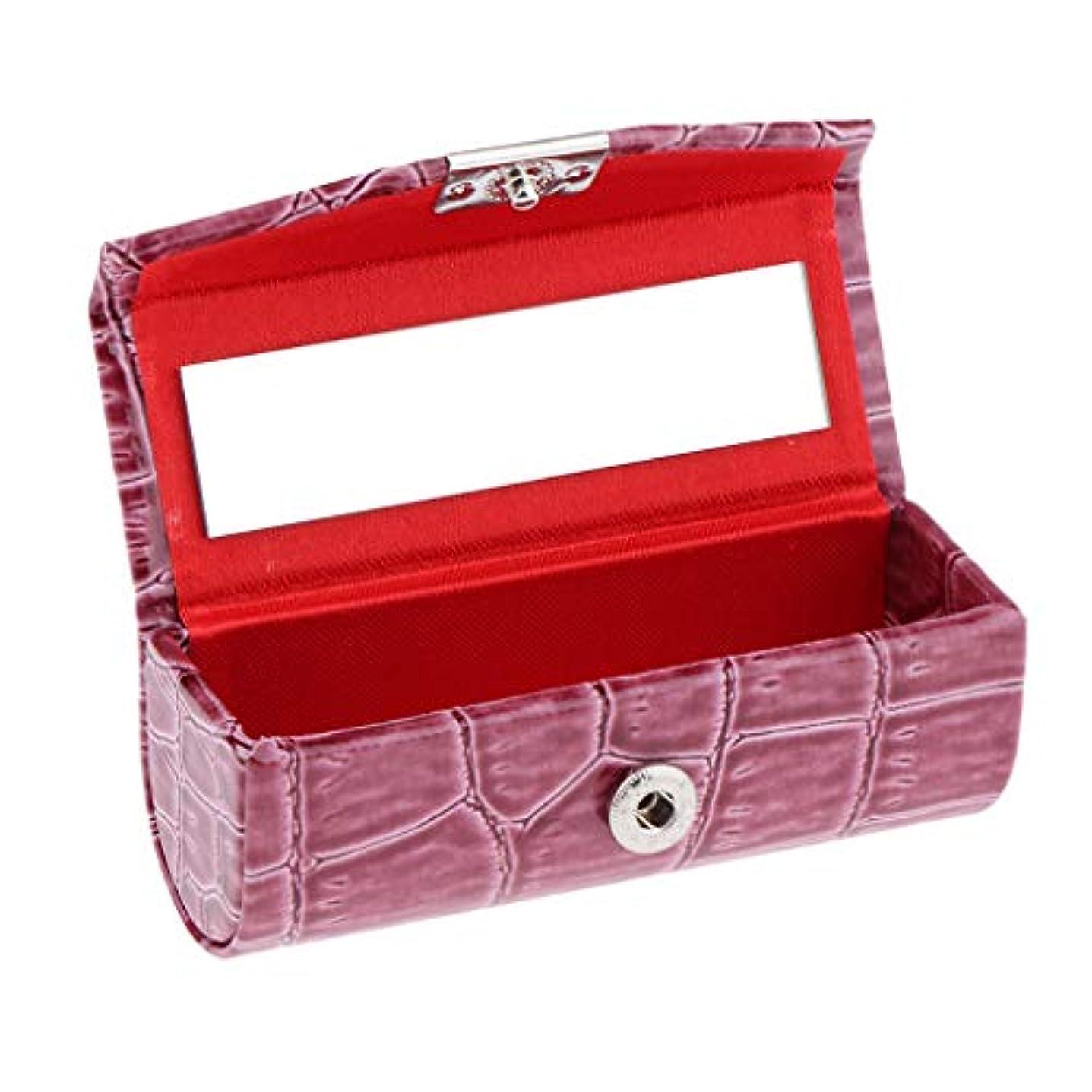 キャリアアクションうっかりIPOTCH レザー リップスティックケース 口紅ホルダー ミラー 収納ボックス 多色選べ - カメオブラウン