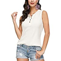 JASAMBAC Womens Tank Tops Loose Fit Plus Size Summer Button up V Neck Waffle Top