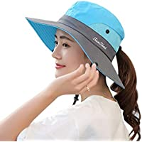 KPWIN Sun Hats for Women, Women's Ponytail Bucket Hat Outdoor UV Protection Foldable Mesh Wide Brim Beach Fishing Hat