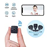 ALLSEES Portable Mini Spy Camera Hidden,1080P Wireless Nanny Camera with Cell Phone App,Night Vision and Motion Detection Remote Monitoring-Security for Pet,Baby,Indoor,Home and Office(Black)