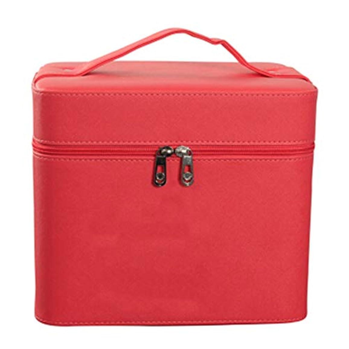 アクション超越する小道具化粧オーガナイザーバッグ ジッパーと化粧鏡で小さなものの種類の旅行のための美容メイクアップのための赤いポータブル化粧品バッグ 化粧品ケース