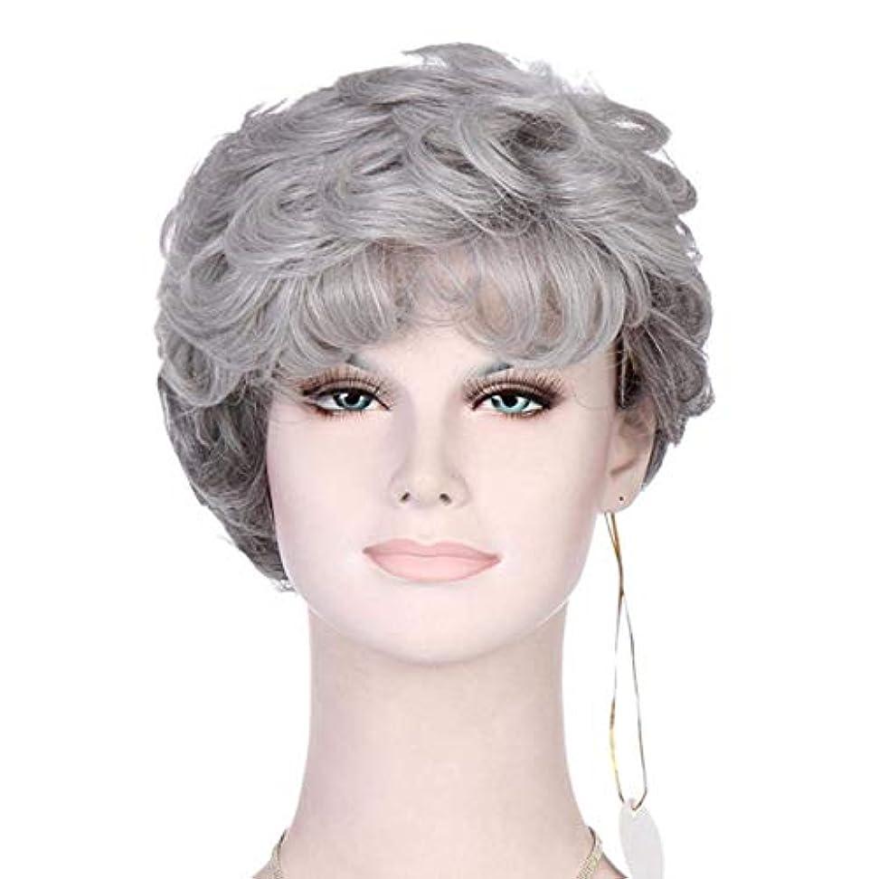 レルム熟読する甥かつらシルバーグレー縮毛の短いヘアピース耐熱合成女性老人ウィッグの派手なドレスのための古い女性