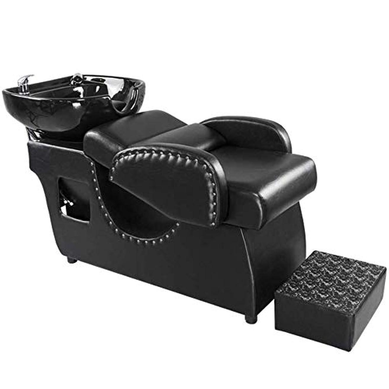 スラックアラビア語行シャンプー理容室逆洗椅子、鉱泉の美容院のための陶磁器の洗面器の洗い流すベッドのシャンプーの流しの椅子