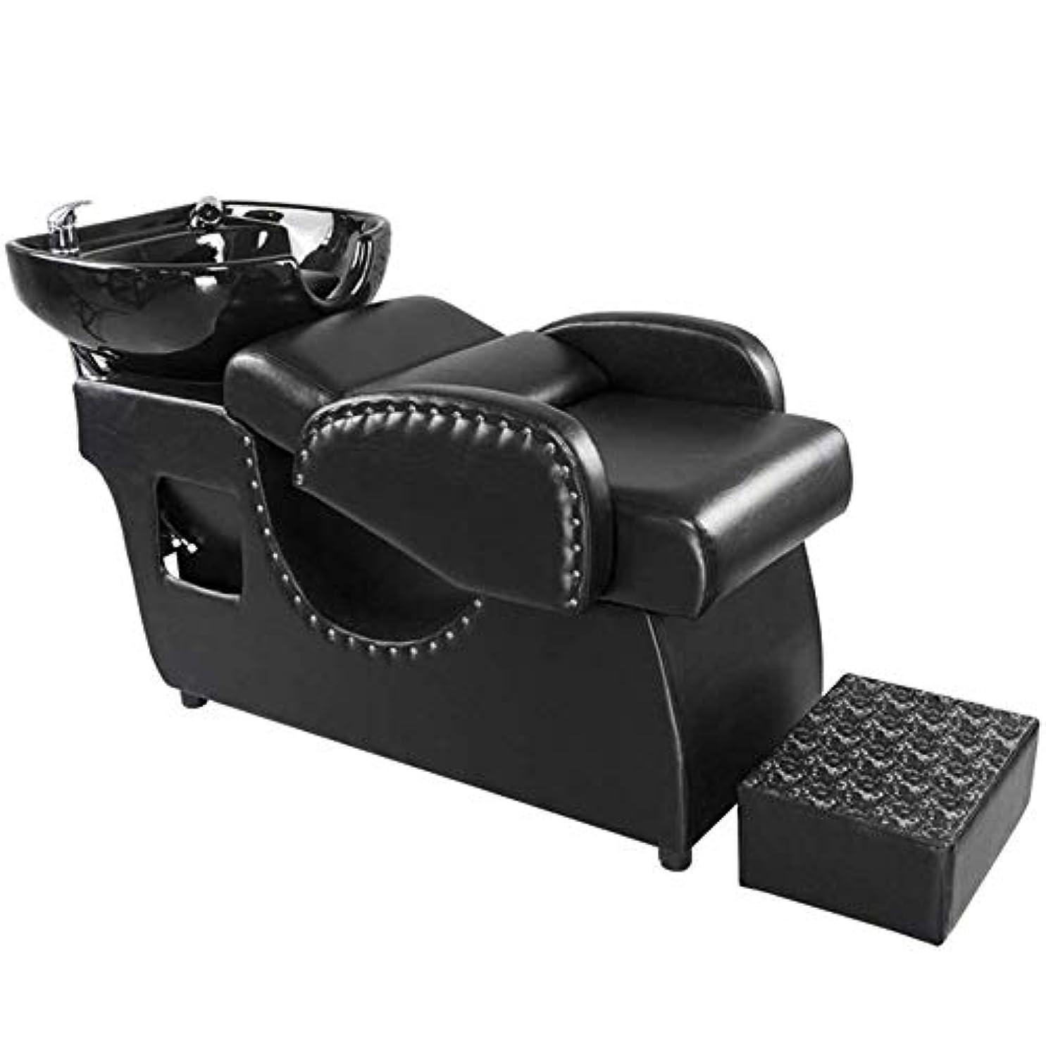 煙突レシピ征服者シャンプー理容室逆洗椅子、鉱泉の美容院のための陶磁器の洗面器の洗い流すベッドのシャンプーの流しの椅子