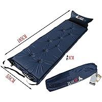 軽量シングルSleepingマットマットレス膨らむパッド枕、海軍
