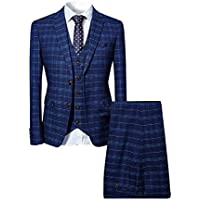Cloudstyle Mens 3 Piece Slim fit Checked Suit Blue/Black Single Breasted Vintage Suits