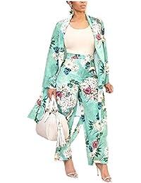 GodeyesW 女性ロングスリーブカーディジャンプスーツロングパンツプリント2ピース衣装