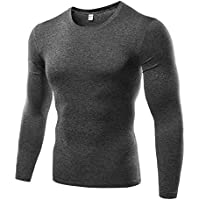 Nobrand Mens Compression Under Base Layer Top Long Sleeve Tights Sports Quick Dry Running Gym Fitness T-Shirt Round Neck