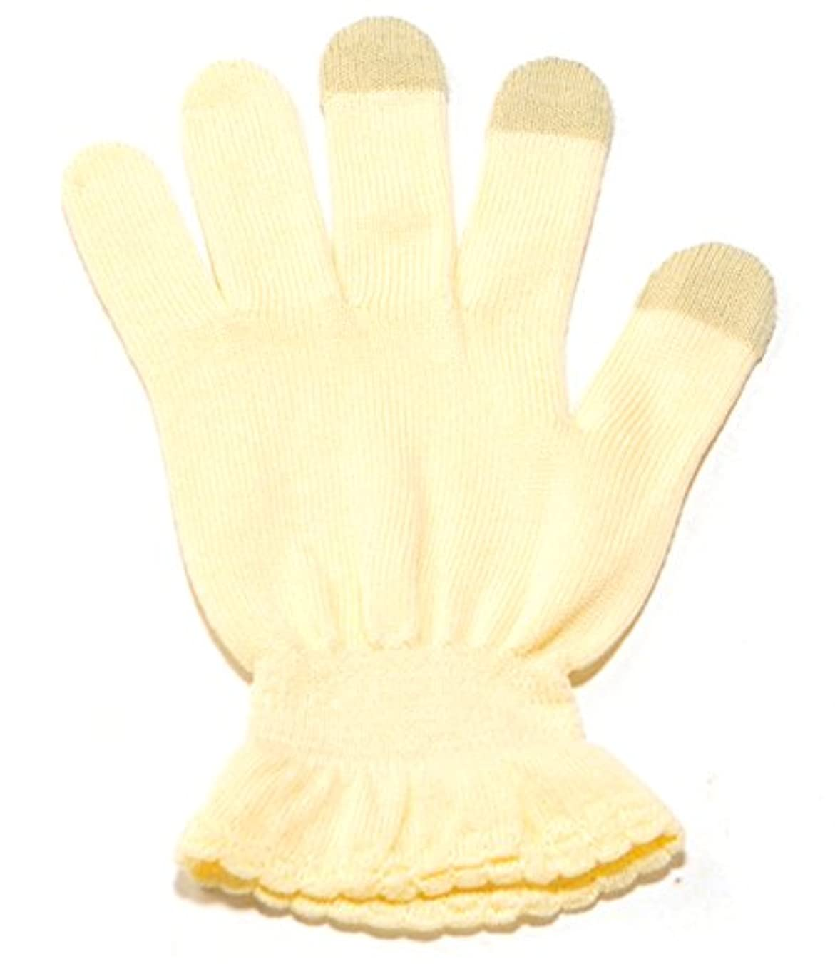 些細海外でにぎやかイチーナ【ハンドケア手袋タッチあり】スマホ対応 天然保湿効果配合繊維 (クリーム, M~L(19~22㎝))