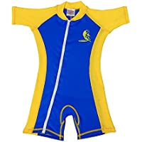 Infant Size S Sun UV Protection One-Piece Blue/Yellow Swimsuit SPF+50 Age 6-12 Month