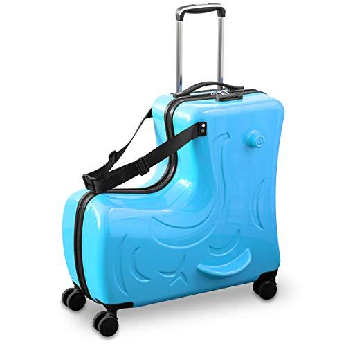 FIELDOOR 子どもが乗れるキャリーケース 24インチ 【ブルー】 ダイヤル式ロック キッズ スーツケース キャリーバッグ 木馬 旅行 帰省