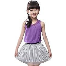 Vokamara Little Girls Clothes Set Linen Vest + Strip Skirt Summer Outfit