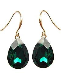 Navachi 18k Yellow Gold Plated Pear Cubic Zirconia Crystal Dangle Drop Earrings