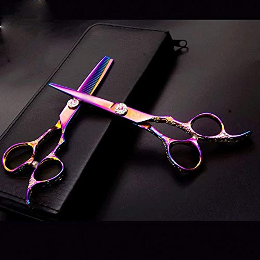 予想する一致するアプライアンスBOBIDYEE 6インチ美容院プロフェッショナルなヘアカットフラット+歯はさみセット、カラフルな彫刻が施されたヘアカットツールヘアカット鋏ステンレス理髪はさみ (色 : Colors)