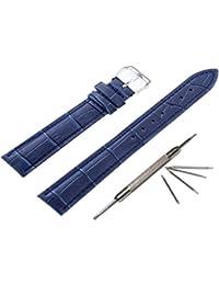 腕時計 ベルトクロコダイル 型押おしゃれ時計バンド ワンタッチで装着簡単ブルー18mm時計ベルト