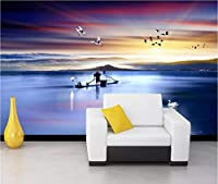 Lcymt 3D壁紙カスタム写真壁画中国日没湖竹ボート風景テレビの背景家の装飾部屋の壁紙の壁-350X250Cm