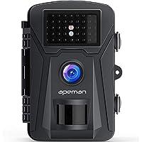 APEMAN トレイルカメラ 人感センサー 防犯カメラ 動き検知カメラ 1200万画素 1080P フルHD 防水カメラ 赤外線LEDライト搭載 60°検知範囲 暗視カメラ IP66防水防塵 電池式カメラ ブラック