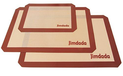 失敗知らずのお手入れ簡単料理用シリコンマット3枚セット くっつかないシリコン焼き菓子用マット Lサイズ2枚(42cm x 29.5cm)&Sサイズ1枚(29.8cm x 21cm)Jimdada耐熱クッキーシート [並行輸入品]