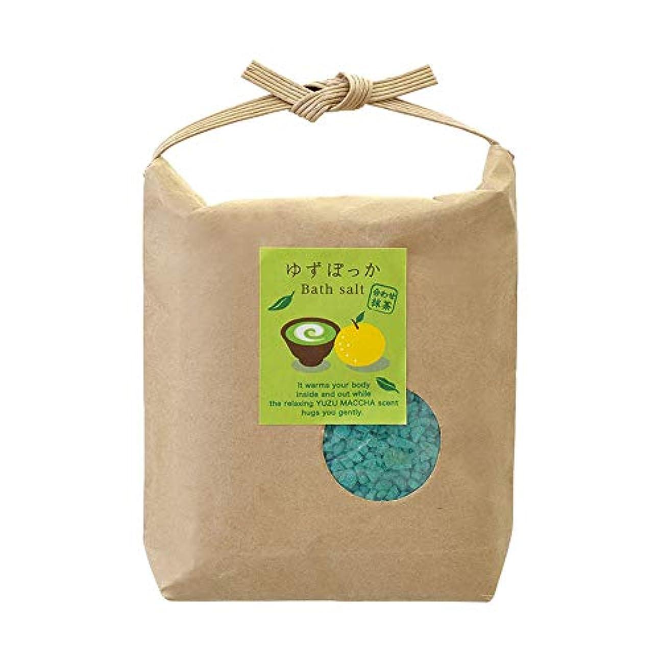 広大な露出度の高い昇るゆずぽっか バスソルト 結び 入浴剤 ゆず抹茶の香り 200g