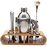 Bartender Kit: 10-Piece Bar Tool Set with Stylish Bamboo Stand - Perfect Home Bartending Kit and Cocktail Shaker Set for an Awesome Drink Mixing Experience - Exclusive Cocktail Recipes Bonus