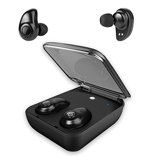 Hobest ワイヤレス ヘッドフォン Bluetooth 充電用ケース付き ミニステレオ ブルートゥース イヤホン インナーイヤー型 防滴 ワイヤレス スポーツヘッドフォン、マイク付き、両耳でも片耳でもご利用可能