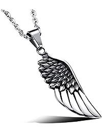 MFYS Jewelry ファッション メンズ 飛鳥 羽 翼 フェザー デザイン ペンダント ステンレス ネックレス カラー: シルバー(銀);ブラック (チェーン付) ネックレス【ジュエリーBOX付】