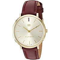 Tommy Hilfiger Women's 'Sophisticated Sport' Quartz Gold-Tone and Leather Watch, Color:Purple (Model: 1781692)
