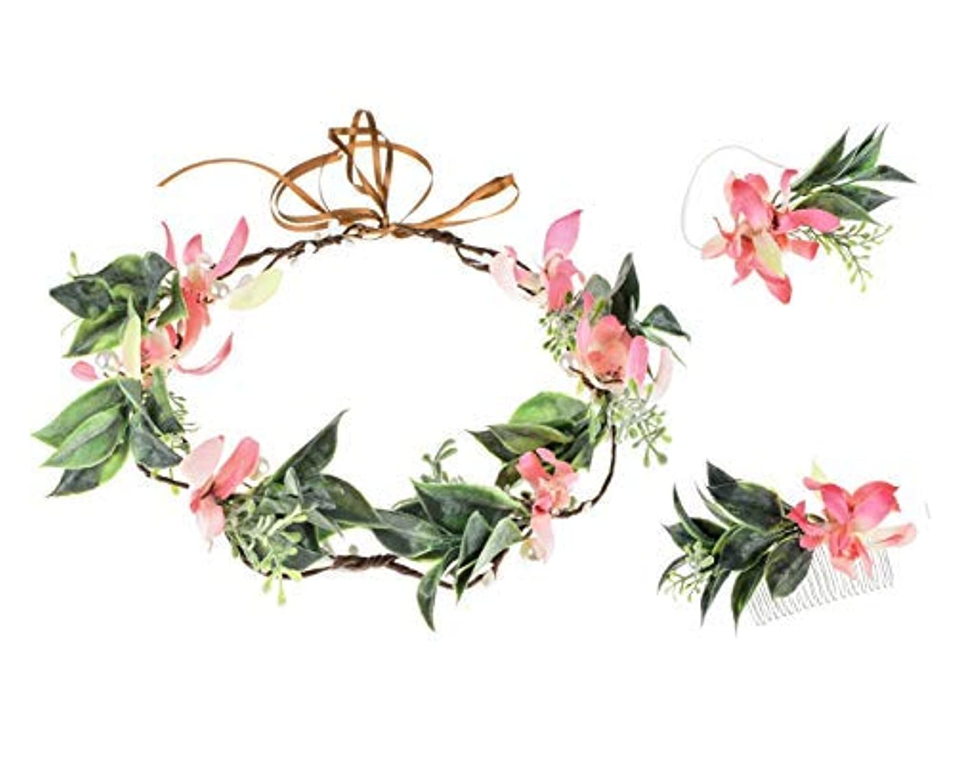 状況協力するコックFloral Fall Butterfly Orchid Flower Crown Hair Comb Green Leaf Wreath Bridal Wrist Flower Maternity Photo Props...