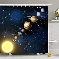 QDYLM Sun Sky System Planets周回する惑星回転するマップアート天文学科学その他マイクロファイバーバスルームシャワーカーテン ポリエステル生地71x71インチ