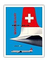 スイス航空 - セブンシーズ航空旅客機 - ダグラスDC-7C - ビンテージな航空会社のポスター によって作成された カート・ワース c.1956 - アートポスター - 28cm x 36cm