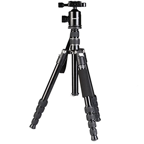 Beschoi 三脚 5段 軽量 コンパクト 一脚 可変式 自由雲台 デジタルカメラ 一眼レフ用 アルミ合金製 クイックシュー式 ナット式ロック 水平器 折り畳み可能 運動会 登山 トラベル用 M255-25mmパイプ径