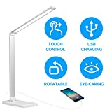 LED Desk Lamp Eye-Caring Table Lamps Dimmable Office Lamp with USB Charging Port 5 Lighting Modes with 7 Brightness Levels Touch Control (White)