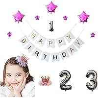 [スリール] 誕生日 写真 撮影 飾り付け1 2 3歳 豪華 光沢 風船 装飾 セット【クラウン 付き】 (ピンク)