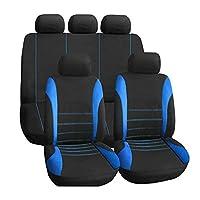 通気性 オートシートカバー セット, クラシック 布 カーシート カバー 完全なセット 統合 高 戻る - メッシュカバー 合う 最も 車 トラック バン Suv-ブルー