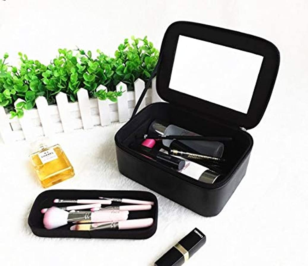 鍔カリングレイプ化粧箱、大容量防水ミラーポータブル化粧品ケース、ポータブルトラベル化粧品バッグ収納袋、美容ネイルジュエリー収納ボックス (Color : ブラック)