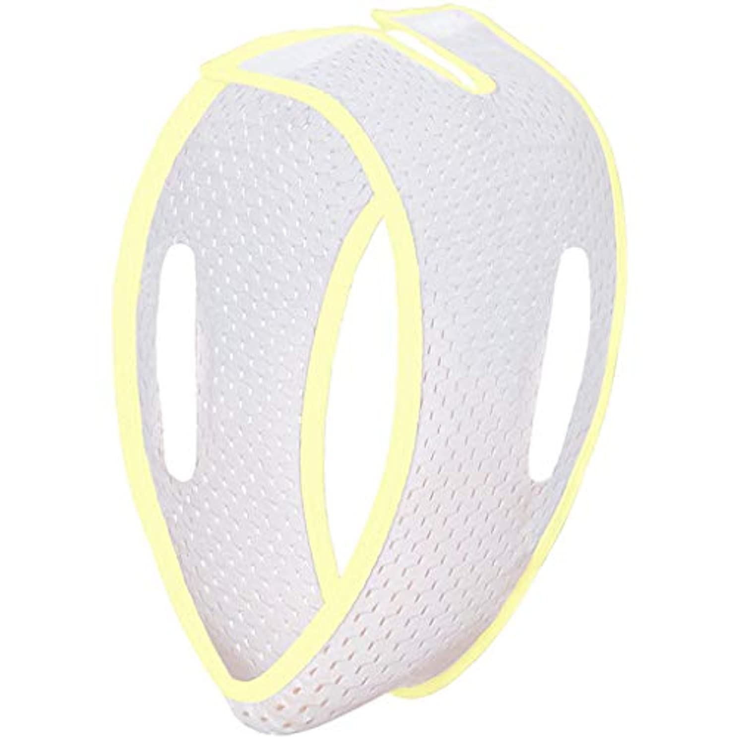 Jia He 軽量 薄い顔ベルト、V顔薄い顔包帯超薄型アンチリンクルリフティングファーミングチン通気性マスク ## (Color : White and Yellow)